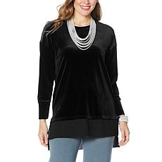 WynneLayers Stretch Velvet Tunic Top