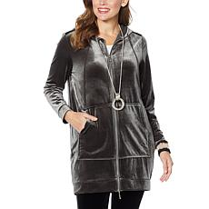 WynneLayers Stretch Velvet Zip-Front Hooded Coat