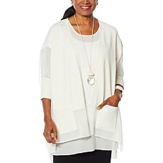 WynneLayers Sweater Knit Topper with Chiffon