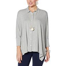 WynneLayers Unstructured Button Front Shirt