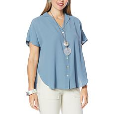 WynneLayers Washed Crepe Cap-Sleeve Shirt