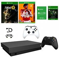 Xbox One X Fallout 76 with Wireless Controller and Madden 20 Game
