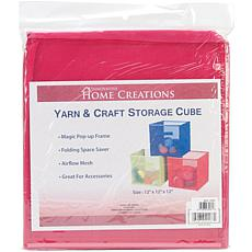 "Yarn and Craft Storage 12"" Cube - Fuchsia"