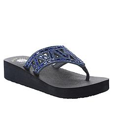 Yellow Box Lanet Leather Embellished Thong Sandal