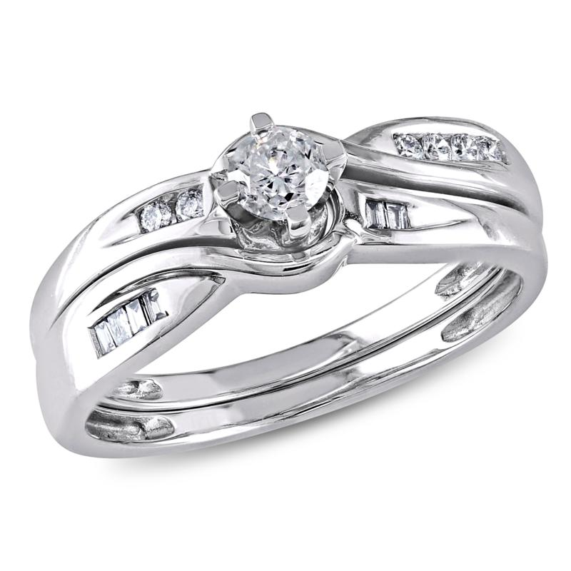 0.3ctw Engagement Ring and Wedding Band 10K Gold 2pc Set