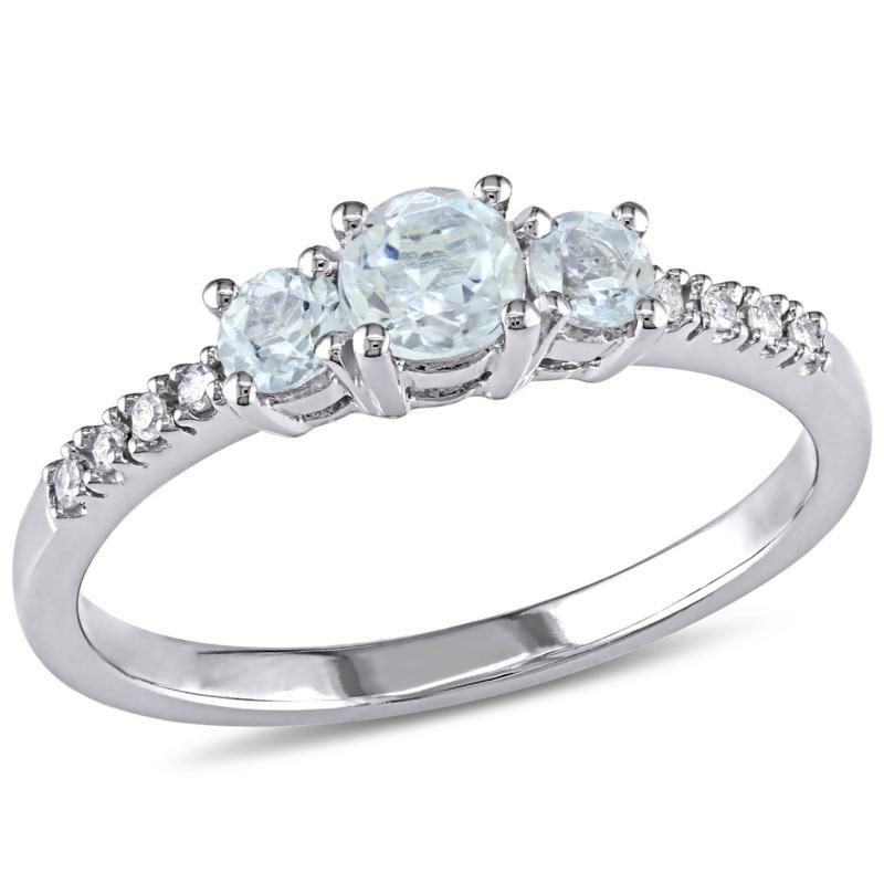 0.51ctw Round Aquamarine and White Diamond 10K Gold Ring