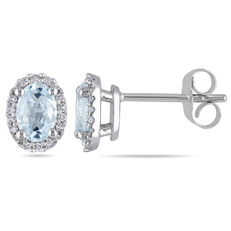 0.88ctw Aquamarine & White Diamond Oval 14K Earrings