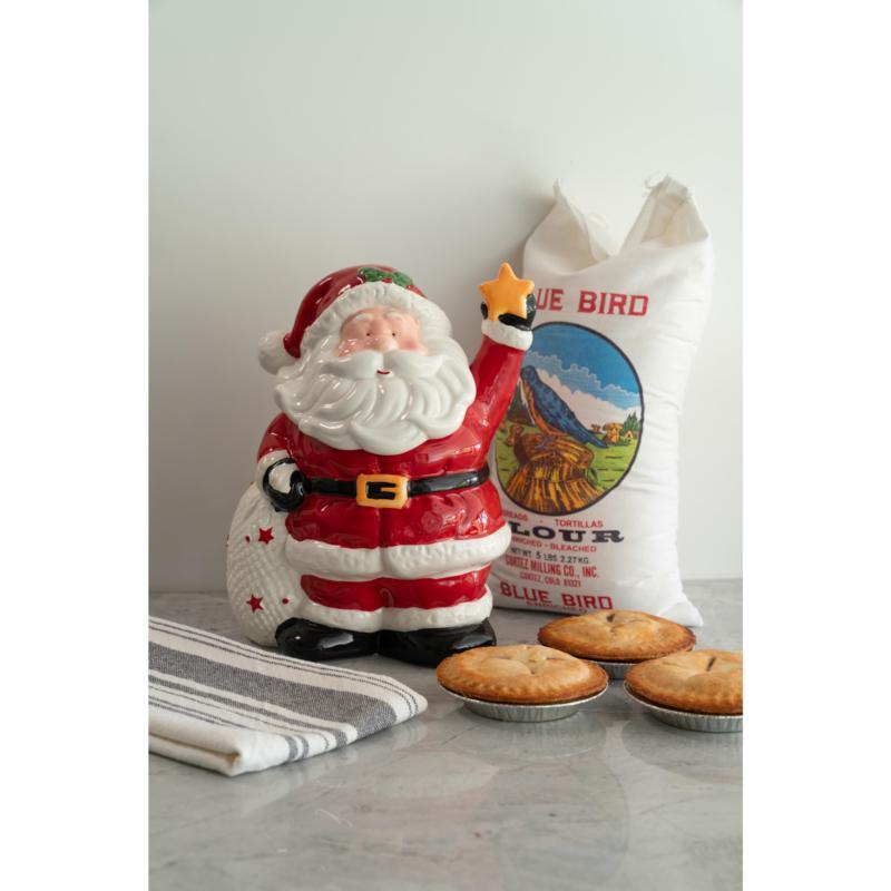 10 Strawberry Street Burlap Santa Cookie Jar