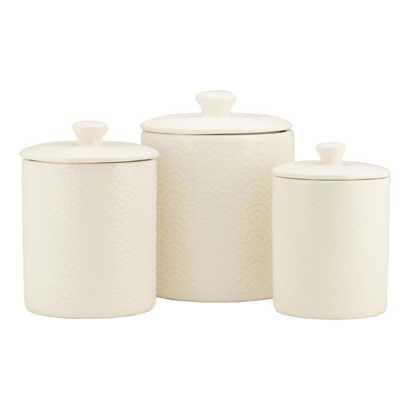 10 Strawberry Street Tide Embossed 3-piece Canister Set - White