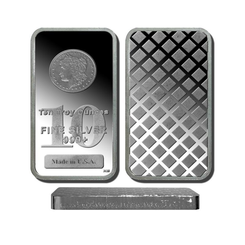 10 Troy oz. 99.9% Silver Bar with Morgan Dollar Design