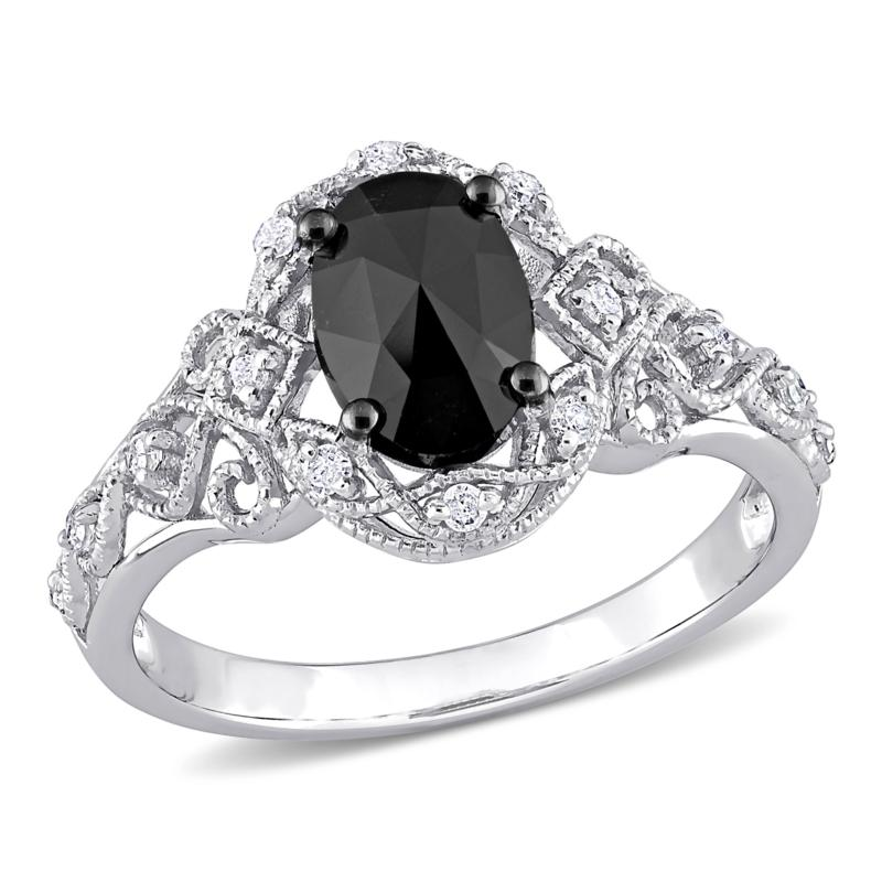 10K Gold Black and White Diamond Vintage Halo Engagement Ring