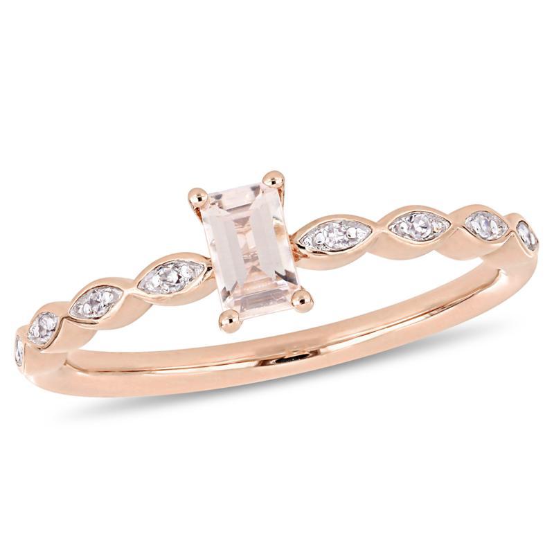 10K Rose Gold 0.34ctw Morganite and Diamond Ring