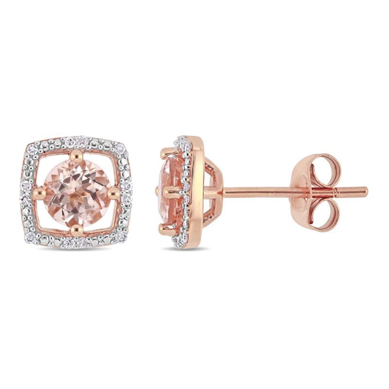 10K Rose Gold 1.07ctw Morganite and Diamond Stud Earrings