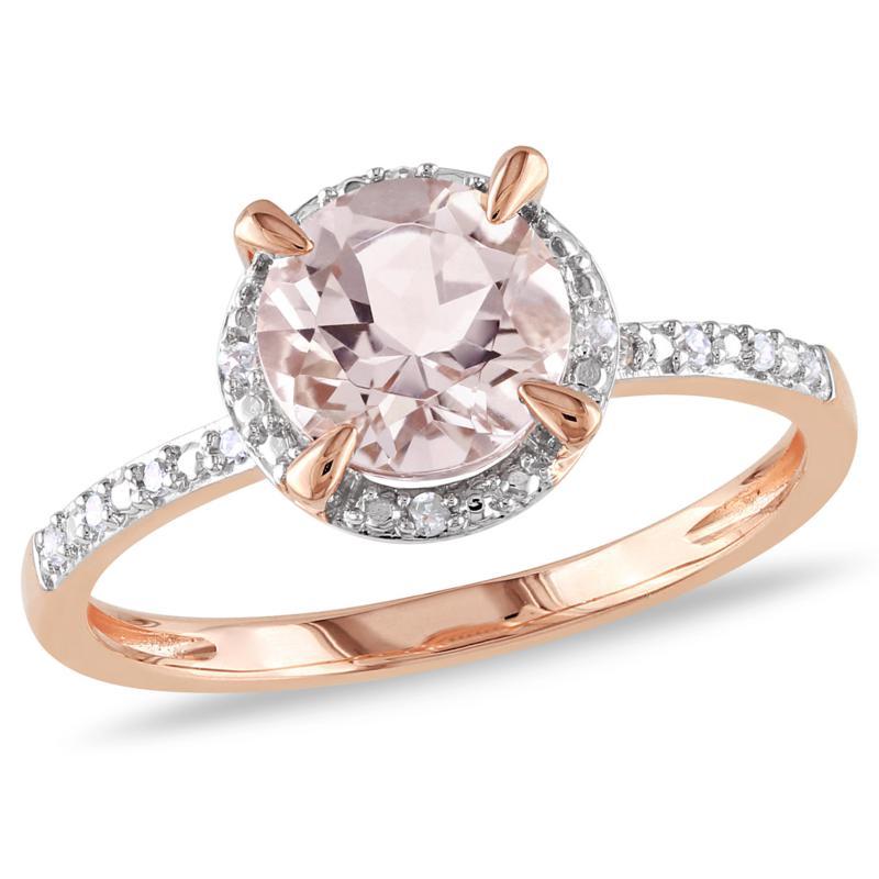 10K Rose Gold 1.17ctw Morganite and .05ct Diamond Ring