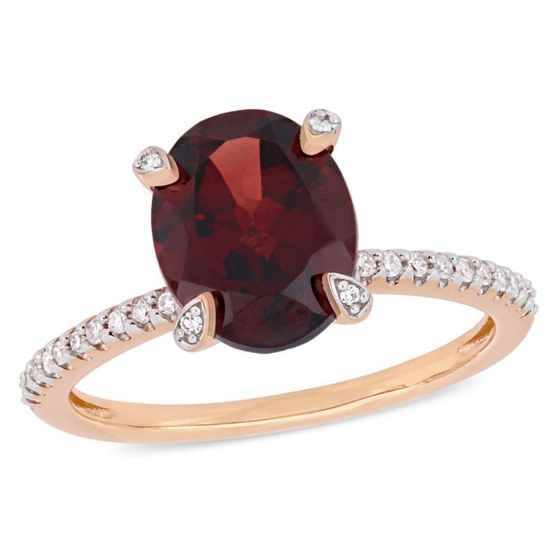 10K Rose Gold Diamond-Accented Garnet Engagement Ring