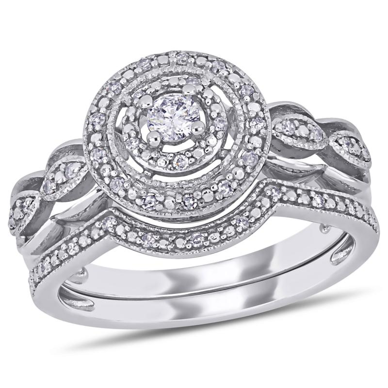 10K White Gold 0.25ctw Round Diamond Bridal Ring Set