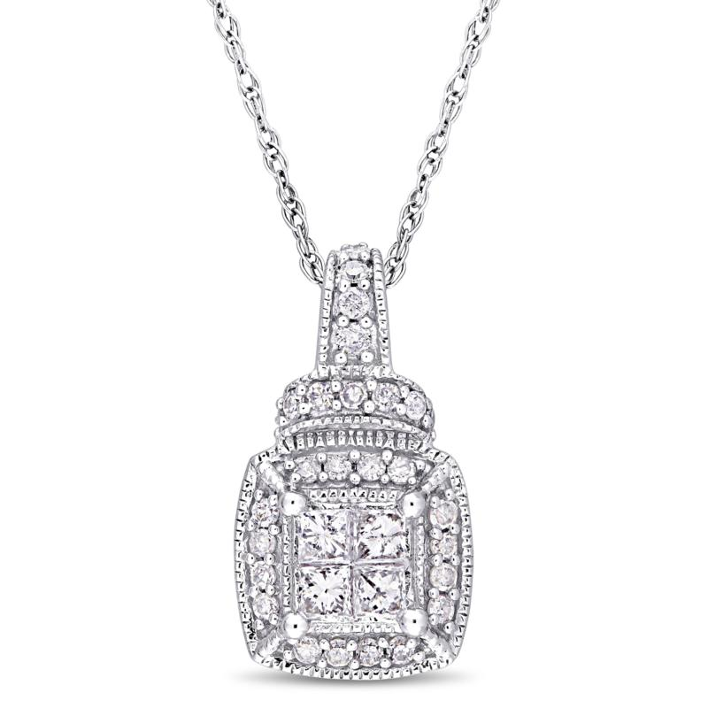 """10K White Gold 0.34ct Diamond Cluster Pendant with 17"""" Rope Chain"""