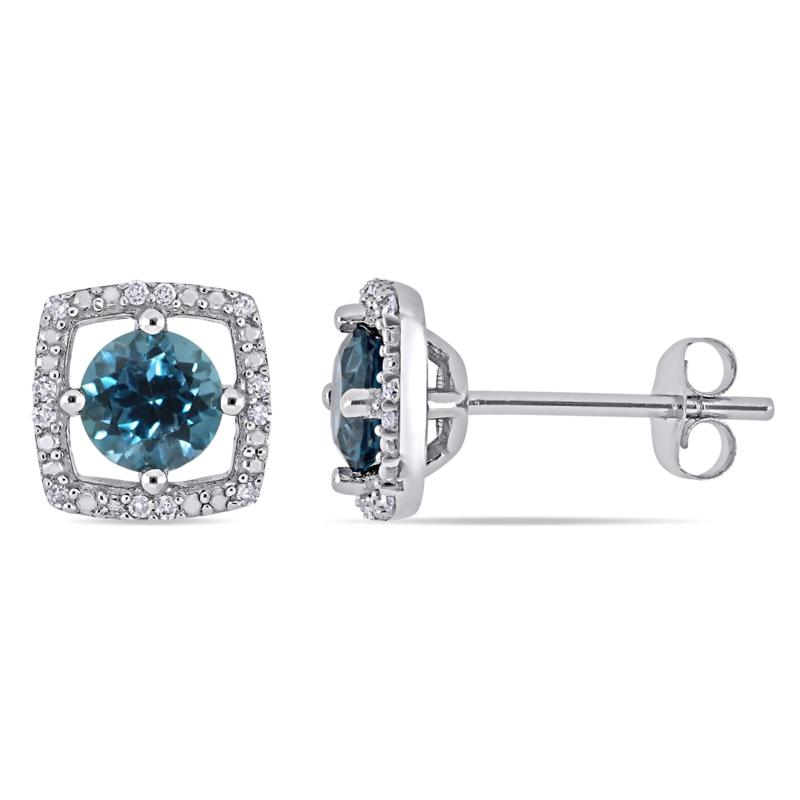 10K White Gold 1.19ctw London Blue Topaz and Diamond Halo Earrings