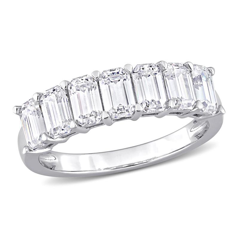 10K White Gold 1.75ctw Created Moissanite Semi-Eternity Ring