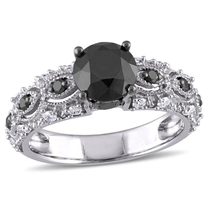 10K White Gold 1.98ctw Black and White Diamond Ring