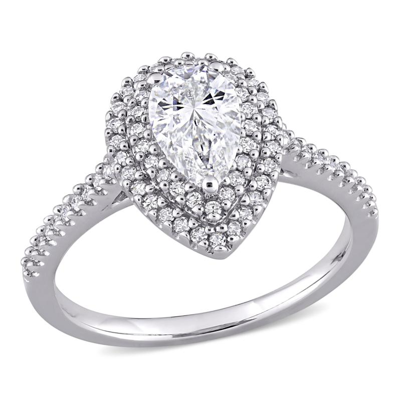 10K White Gold 1ctw Moissanite and 0.34ctw Diamond Pear Halo Ring