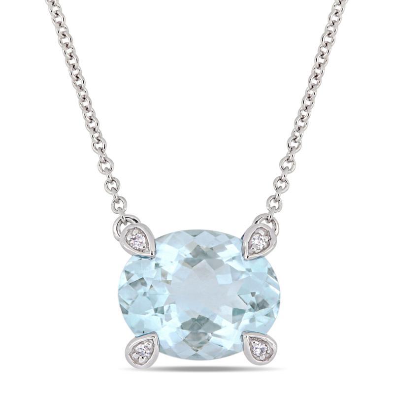 10K White Gold Diamond-Accented Oval Aquamarine Necklace