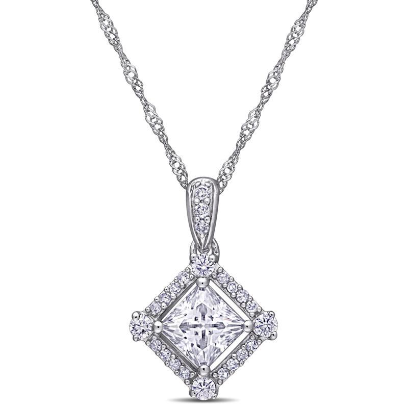 10K White Gold Diamond and Created White Moissanite Halo Pendant