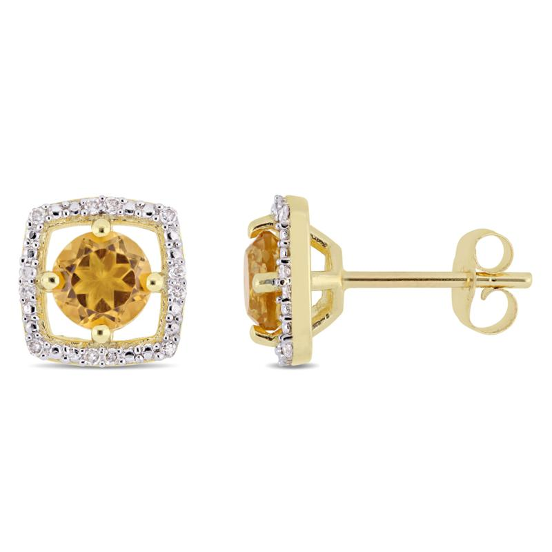 10K Yellow Gold .95ctw Citrine and Diamond Stud Earrings