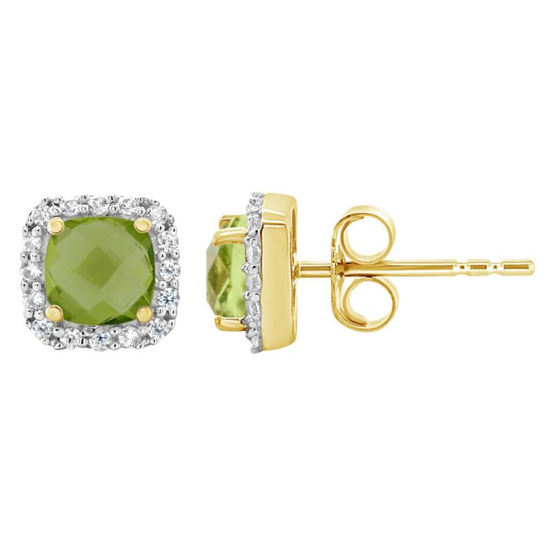 10K Yellow Gold Gem and Created White Sapphire 5mm Stud Earrings