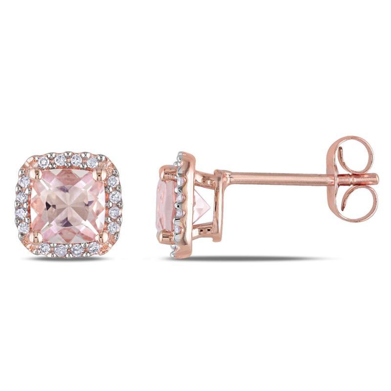 1.19ctw Morganite and Diamond 10K Rose Gold Earrings