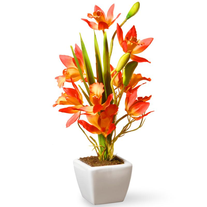 """13"""" Yellow & Orange Artificial Orchid Flowers"""