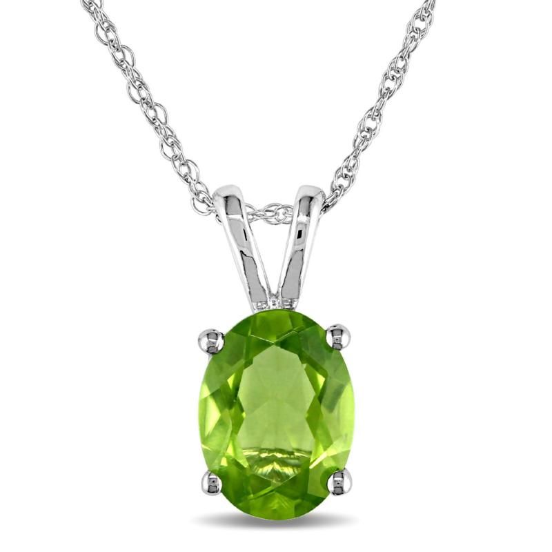 1.33ct Oval Peridot Solitaire 10K White Gold Pendant