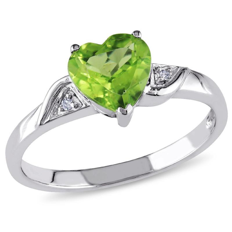 1.36ctw Peridot and Diamond 10K White Gold Heart Ring