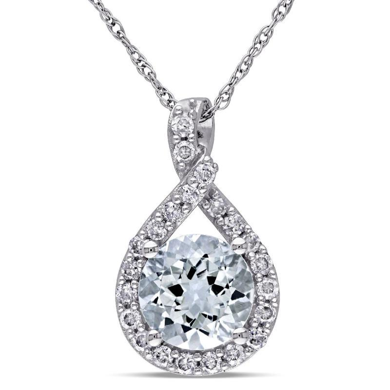 1.37ctw Aquamarine & Diamond 10K Gold Infinity Pendant