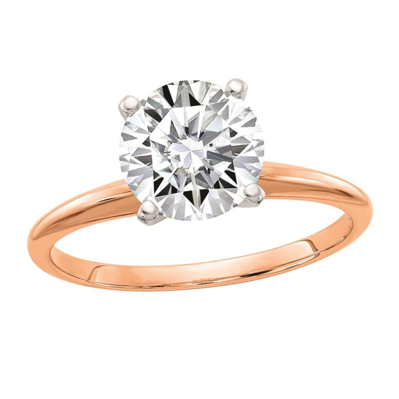 14K Rose Gold 1.90ct Moissanite Round-Cut Solitaire Ring