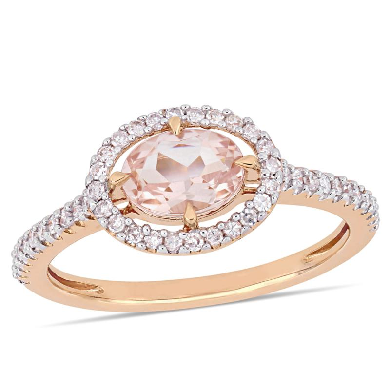 14K Rose Gold Diamond and Morganite Oval Floating Halo Ring