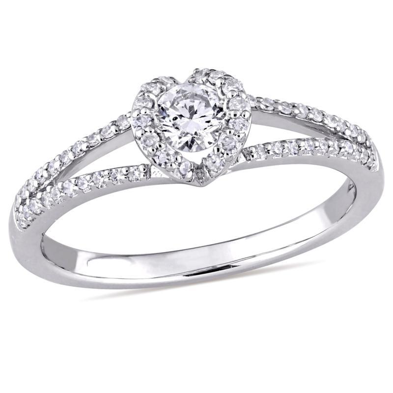 14K White Gold 0.44ctw Diamond Round Engagement Ring