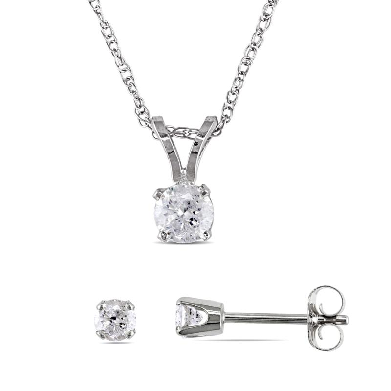 14K White Gold 0.50ctw Diamond Round Solitaire Earrings and Pendant