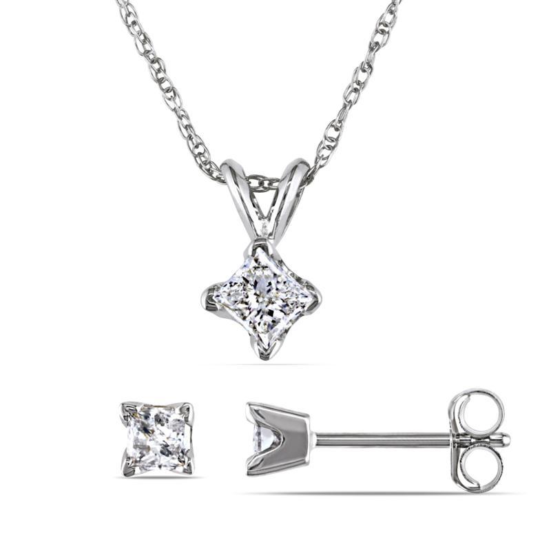 14K White Gold  0.65ctw Diamond Princess-Cut Earrings and Pendant