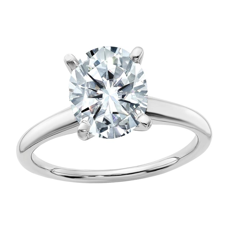 14K White Gold 3ct Moissanite Oval-Cut Solitaire Ring