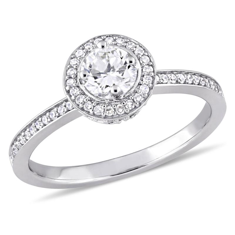 14K White Gold .50ctw Diamond Halo Engagement Ring