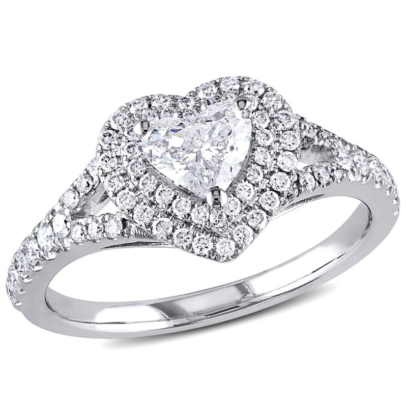 14K White Gold .98ctw Diamond Heart Engagement Ring