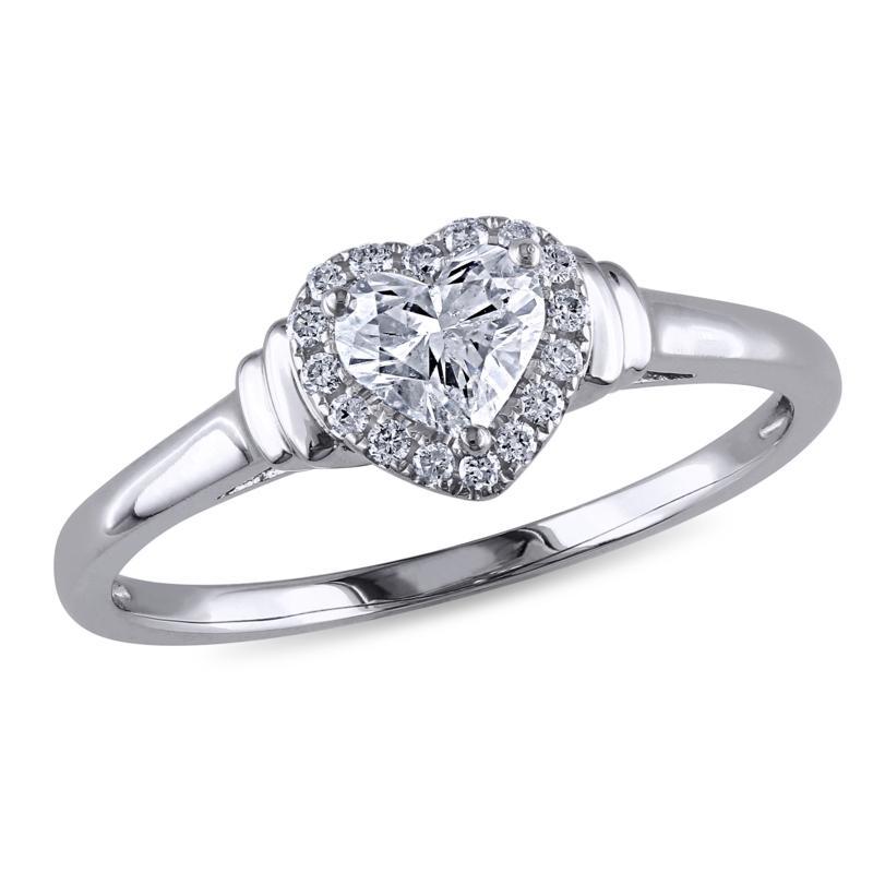 14K White Gold Diamond Heart Engagement Ring