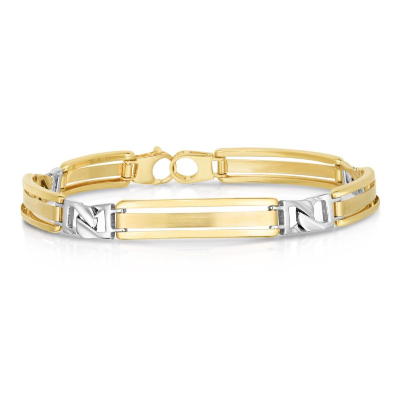 """14K Yellow and White Gold Accent Curb Link Bracelet - 8-1/2"""""""