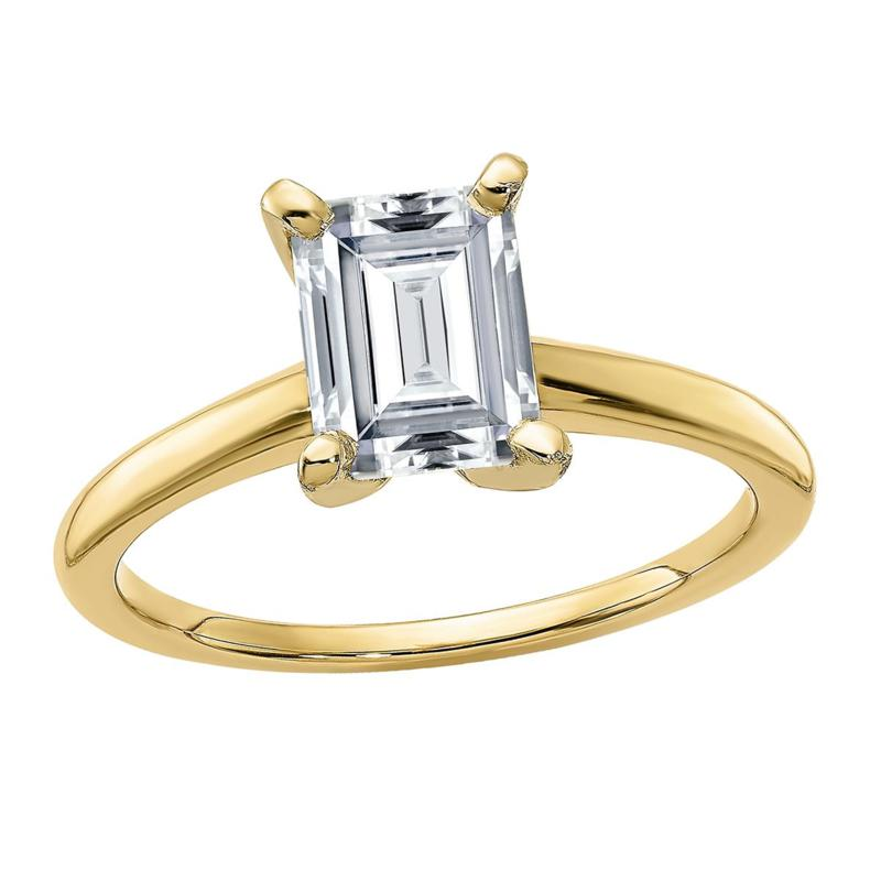 14K Yellow Gold 1.75ct Moissanite Emerald-Cut Solitaire Ring