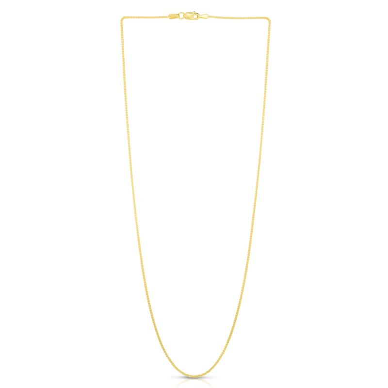 ZLNSGQD022 1mm 14K Yellow Gold Chain Wheat Chain Necklace  Gift box  Ship from USA