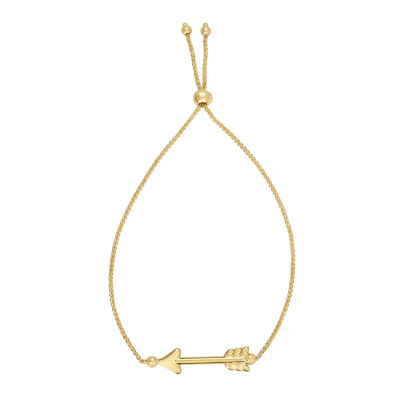 "14K Yellow Gold ""Arrow"" Adjustable Bolo Bracelet"