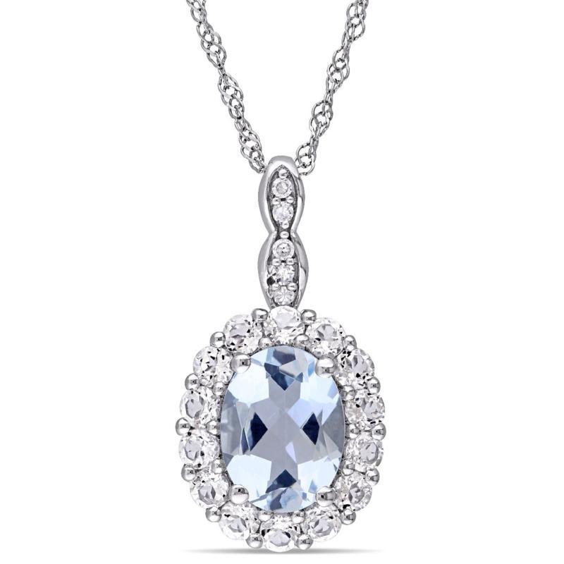 1.62ctw Aquamarine, White Zircon & Diamond 14K Pendant