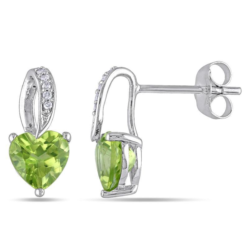 1.71ctw Peridot & Diamond 10K White Gold Heart Earrings