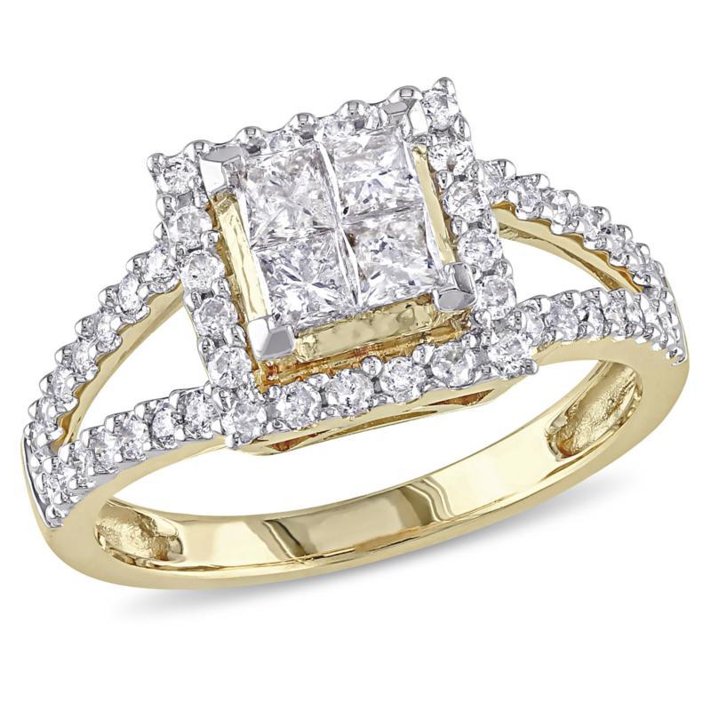 1ctw Princess and Round White Diamond Halo Ring